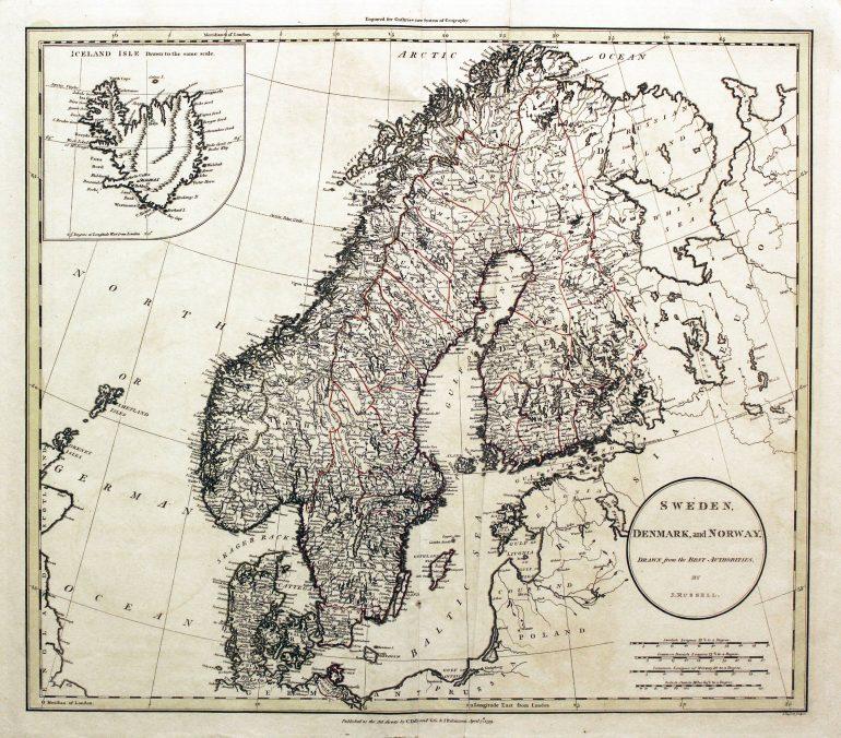 Scandinavia Map circa 1800