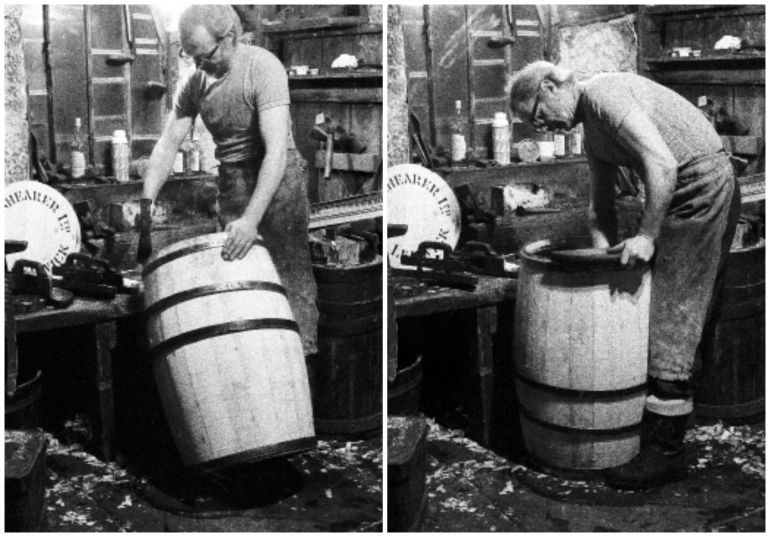 James Manson nicknamed 'Yunkers', making a whole barrel in Shearer's Cooperage. Photo: Shetland Museum and Archives