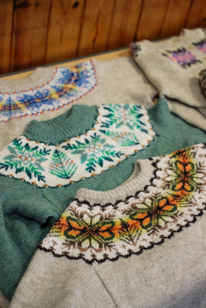 some of my knitwear at my class on the Sunday